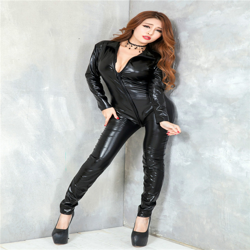 Nightclub uniforms long-sleeved corsets patent leather onesies sexy lingerie