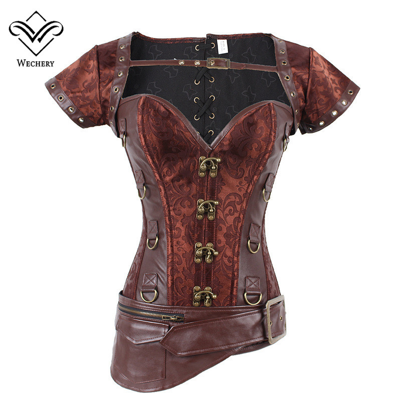 Corsets   and   Bustiers   Slimming Steampunk   Corset   Gothic Brown Corsages Sexy PU Leather Buckle Belly Slimming Sheath S-6XL