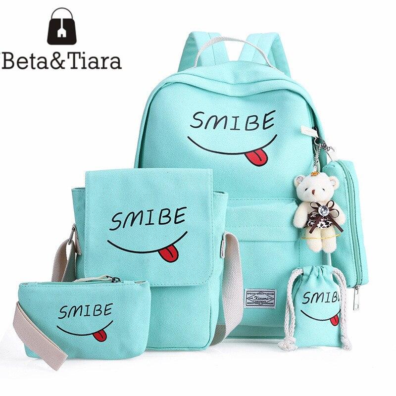 Smiley school bag printing backpack canvas schoolbag cute backpack rugzak rugtas meisje smile face bag 5pcs/set backpack set cutie dog shiba inu big smile face canvas backpack canvas school bag xmas gift 45x32x12cm