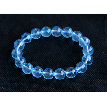 Wholesale High Quality Clear Genuine Blue Topaz Stretch Bracelets Round Big Beads 7mm 8mm 9mm 10mm 11mm 12mm 13mm