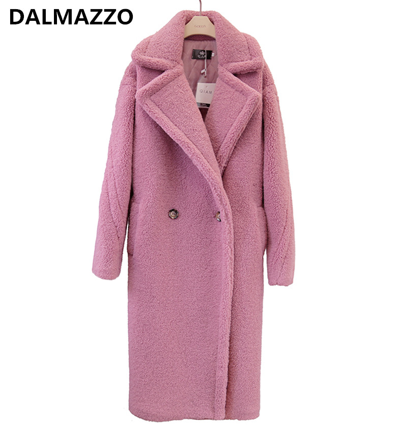 Women Fake Fur Thick Warm Teddy Long Coat Fashion Runway 2018 Winter Female Clothes Oversize Windbreaker Pink Black Brown Red XL