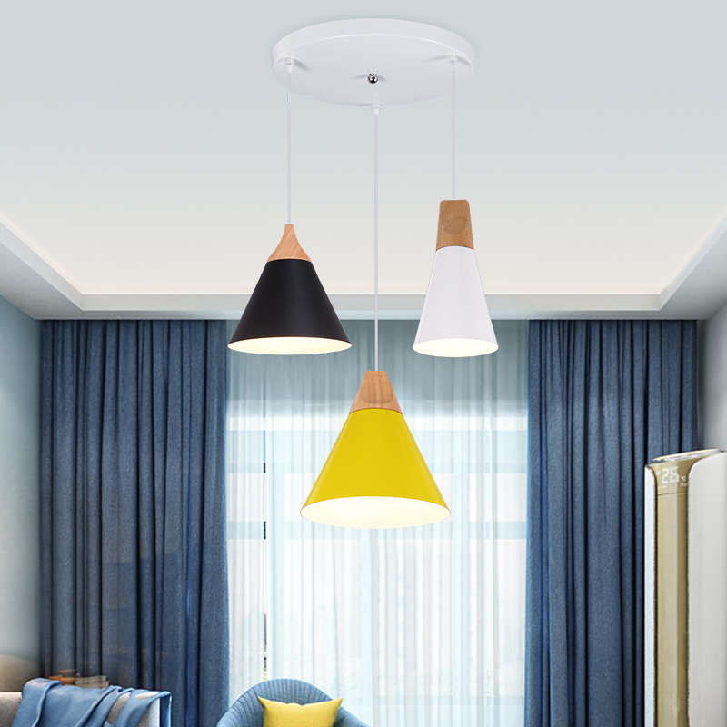 Nordic Modern Colorful Wood Pendant Lamp for Restaurant Coffee Bar Dinning Room  Bedroom E27 Pendant Lights Decor nordic modern wood glass pendant lights simple art coffee restaurant hanging lamp living bedroom pendant lamp for home lighting