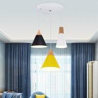Indoor Lighting E27 110V 220V Pendant Lights Wood And Aluminum Lamp Restaurant Bar Coffee Dining Room
