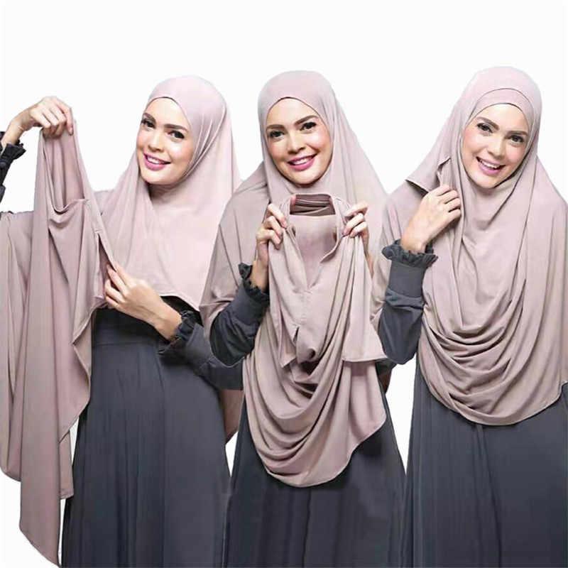 2019 Donne In Jersey di Cotone Sciarpa del Hijab Pianura Istante Impacchi e Scialli foulard femme Musulmano Hijab Negozio Pronto A Indossare di Foulard