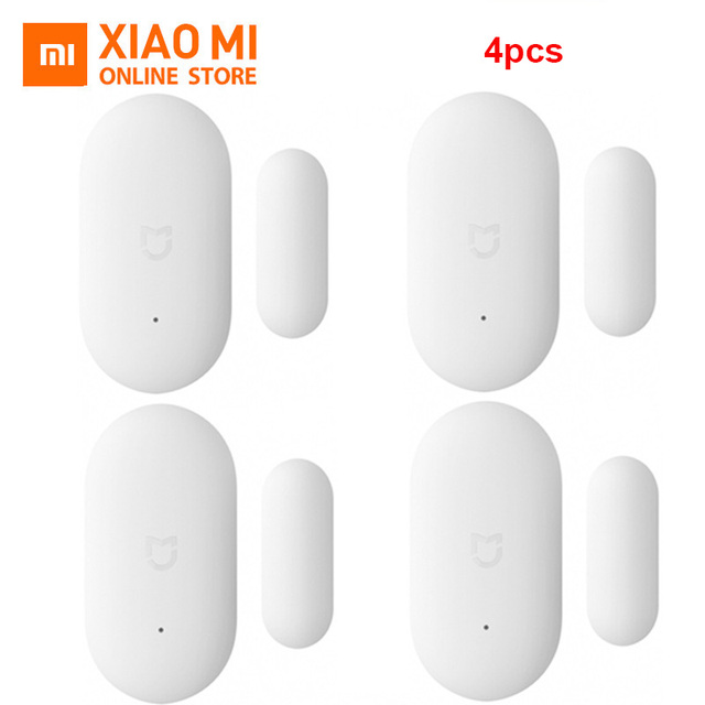 4pcs Xiaomi MIJIA Window Door Sensor ZigBee Version Smart Home Linkage for IFTTT Mi Home APP Bell Alarm Light Free Installed