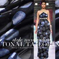 Black Dot Silk Burnt-out Gauze Lustrine Rotten Cloth Fabric Scarf Shirt Dress Clothing DIY
