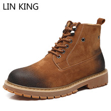 hot deal buy lin king warm plush genuine leather men chelsea boots lace up winter martin boots high top military botas man safety work boots