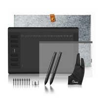 """2 stifte Huion Neue 1060 Plus Grafik Zeichnung Digital Tablet w/8G SD Karte 12 Express Schlüssel + schutz Film + 15 """"Liner Tasche + Handschuh"""