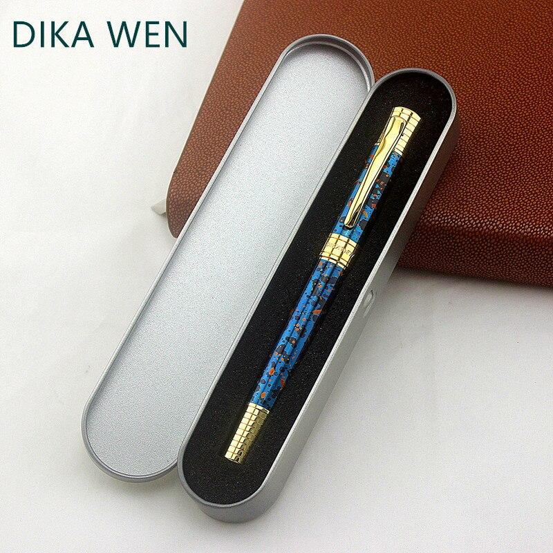Высокое качество металлическая 8038 золотая ручка Студенческая синяя ледяная Цветочная Роскошная Подарочная Ручка-роллер