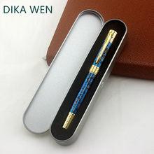 Wysokiej jakości metal 8038 złoty długopis uczeń niebieski kwiat lodu luksusowy prezent pióro kulkowe