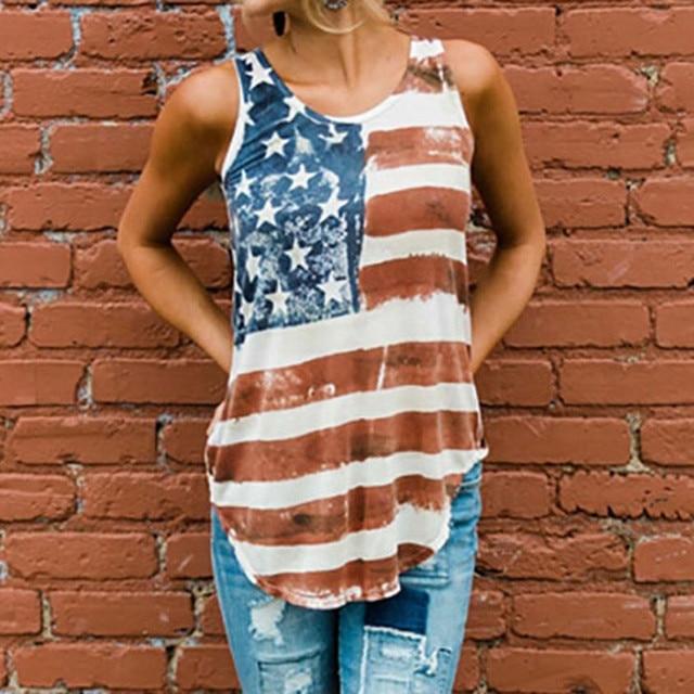 6b14dc7cbe9 2018 Hot Tank Tops American Flag Loose 4th Of July Sleeveless T-shirt Print  Casual