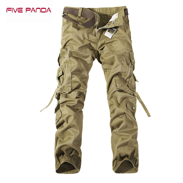 FIVE PANDA 2017 Brand Clothing Cargo Pants Men Cotton Army Camouglage Casual Trousers Pants Military Cam Overall Pants CMCK002