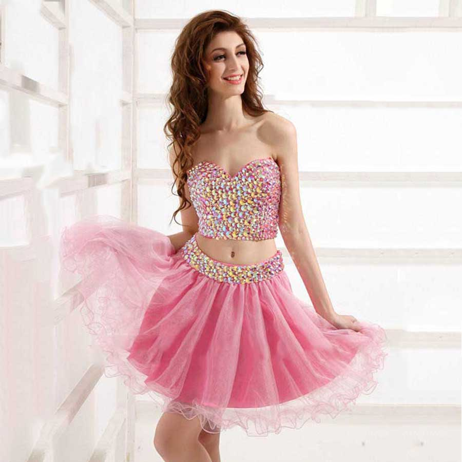 Short Sparkly Pink Prom Dresses
