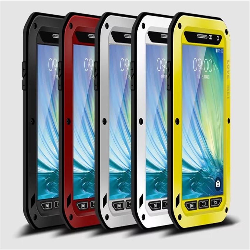 bilder für Lovemei wasserdicht Fall für Samsung Galaxy A3 A5 2015 Original Leistungsstarke Abdeckung Metall Rüstung mit Gorilla-glas Schutzfolie