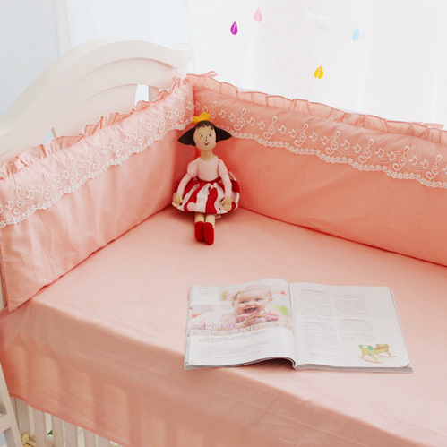 Cotton Baby Cute Lace Cot Bedding Set Newborn Pink Color Crib Bedding Detachable Quilt Pillow Bumpers Sheet Cot Bed Linen