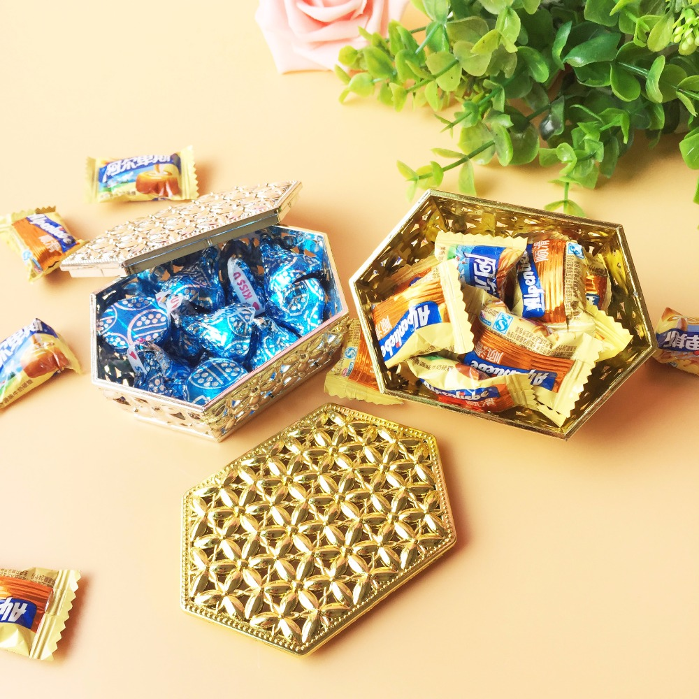 100pcs/lot Creative candy box rectangular hexagonal hollow plating gold and silver rectangular plastic candy box