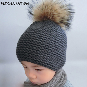 FURANDOWN Winter Hat Baby Children Raccoon Fur Pompom Hats Boy And Girls Warm Beanie Hat Cap For Kids