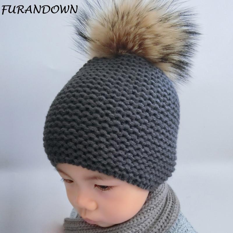 FURANDOWN Χειμερινό καπέλο μωρό Παιδιά ρακούν Γούνινα ποδιά καπέλα Αγόρι και κορίτσια Ζεστό καπέλο καπέλο Beanie για παιδιά