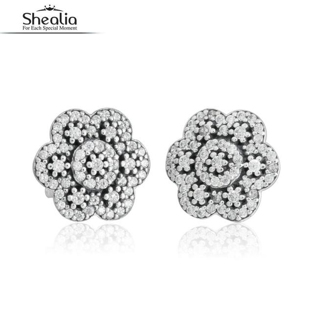 SHEALIA Crystalized Floral Studs Earrings For Women 925 Sterling Silver Ice Crystals Earring Wedding Engagement Jewelry bijoux