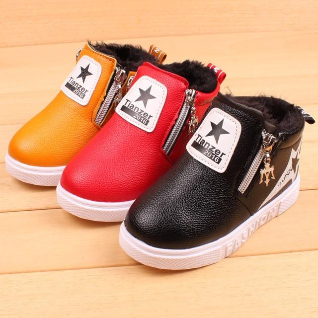 XZ Little Kids Shoes Leather Plush Warm Flat Sneakers For Infantil Boys Zipper Easy Wear Winter Shoes For Baby Girls Stars Cute