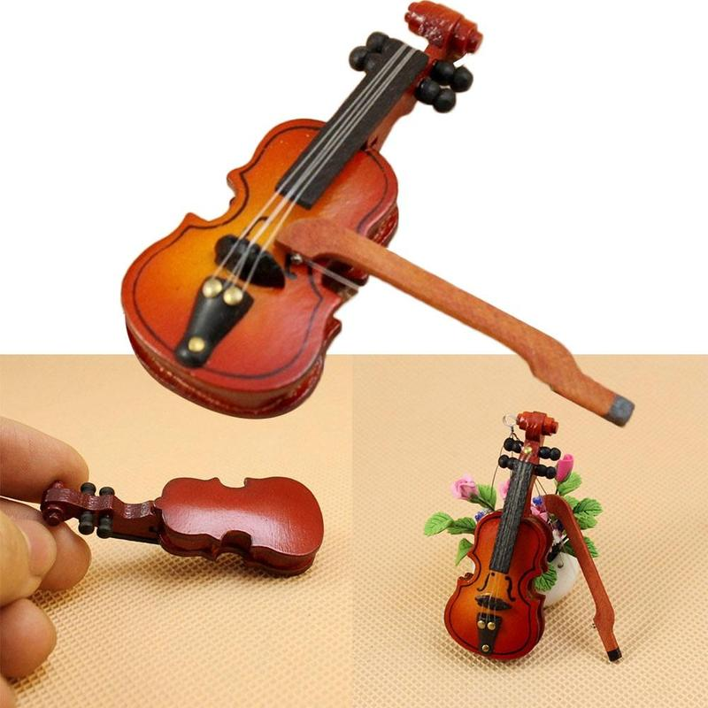 1:12 Dollhouse Mini Violin Dollhouse Miniature Musical Instrument Wooden Violin Dollhouse Decoration Kids Children Toy Gift