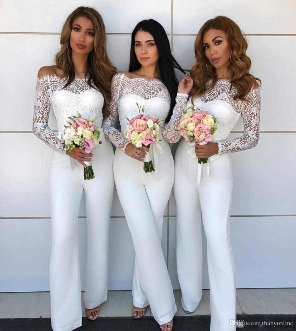 2019 Elegant White Lace Jumpsuit Bridesmaid Dress Long Sleeves Pant Suit Off Shoulder Party Guest Maid Of Honor Gowns