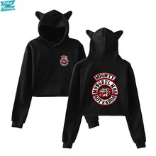 Mongrel Mob Hip Hop Kat Crop Top Vrouwen Kleding Truien Sweatshirts Kawaii Harajuku Tops Kpop Plus Size(China)