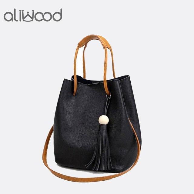 6aa51022b8ff US $9.87 40% OFF|2018 Women's Handbags Fashion Wild Tassel Bucket Bag Tote  Leather Women Messenger Bags Girls for Shoulder Bag Brands Designer-in ...