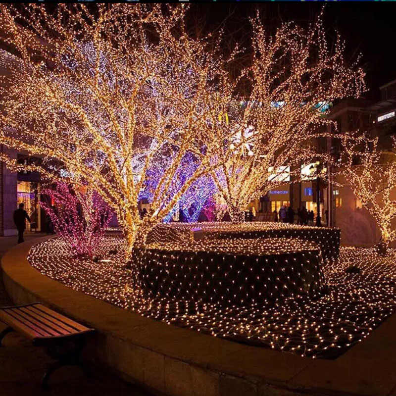 4 м X 6 м 220 в наружная Фея садовая гирлянда светодиодные сетчатые светильники для рождественской елки Парк Отель уличные праздничные вечерние свадебные украшения