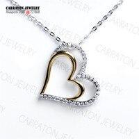 정품 925 스털링 실버 새로운 독특한 디자인 두 톤 도금 사랑 심장 모양의 펜던트 목걸