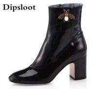 Bee Genunie Cow Leather Boots Women Luxury Designer Short Ankle Female Zipper Fashion Autumn Black Low