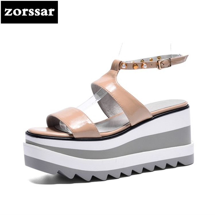 {Zorssar} 2018 Genuine Leather Wedges Women Sandals Summer Shoes Open Toe platform High heels woman Roman Gladiator Sandals hzxinlive elegant summer sandals women high heel wedges shoes woman round toe roman sandals ladies footwear female casual shoes