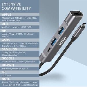 Image 3 - 4 في 1 USB C محور 4K HDMI نوع C الصاعقة 3 حوض USB3.0 محول محول ل ماك بوك سامسونج S8/S9 هواوي P20 برو USBC التكيف