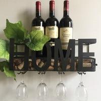 Metal Wrought Iron Mounted Metal Wine Rack 4 Long Stem Glass Holder Wine Cork Storage 58x22x12cm