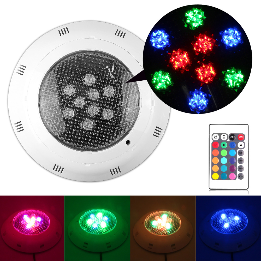 9W RGB LED Swimming Pool Lamp Underwater Light Fountain Spotlight Lamp with Remote Control AC12V new brand auto swimming pool cleaner with 70micron filter bag porosity 24dv motor voltage cable15m remote control wall climbing