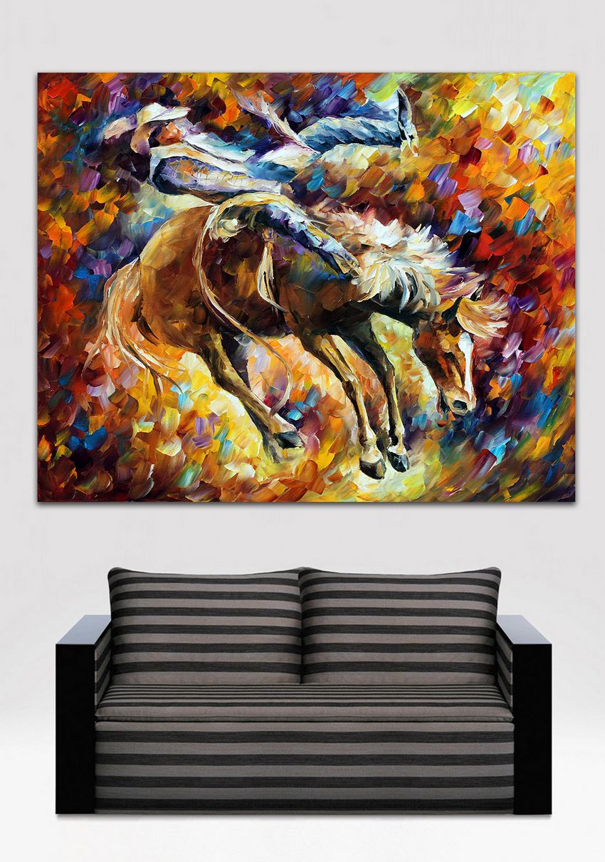 Modern Canvas Oil Painting Handpainted Horse Racing Painting Palette font b Knife b font Canvas Wall