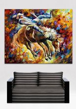 Modern Canvas Oil Painting Handpainted Horse Racing Painting Palette Knife Canvas Wall Picture for Living Room Home Decoration