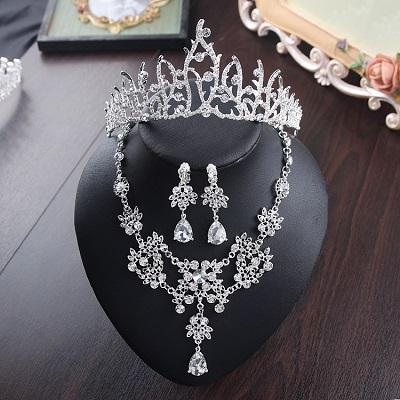 Bride Diaries New Design Crystal Pearl Bride 3pcs Set Necklace Earrings Tiara Bridal Wedding Jewelry Set Accessories (18)