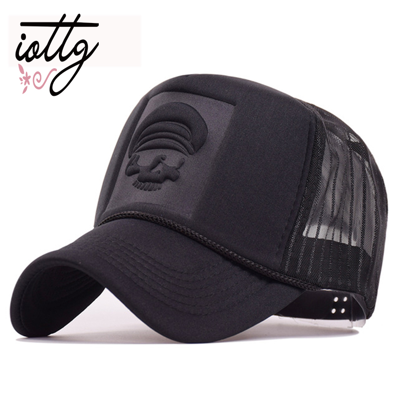 IOTTG 2018 Hip Hop Skeleton Print Curved Baseball Caps Summer Mesh Snapback Hats For Women Men casquette Trucker Cap