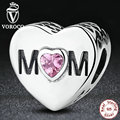 925 Sterling Silver Accessories MOTHER HEART Charms Fit Pandora Bracelet Jewelry With Mom & Pink Heart-Shaped Stone S299