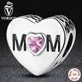 925 accesorios de plata madre del corazón encantos fit pandora pulsera con mamá y rosa en forma de corazón de piedra s299