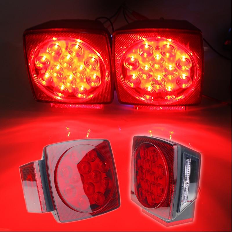 Rectangle LED Waterproof Low Profile Light Kit Trailer Stop Brake Boat Marine