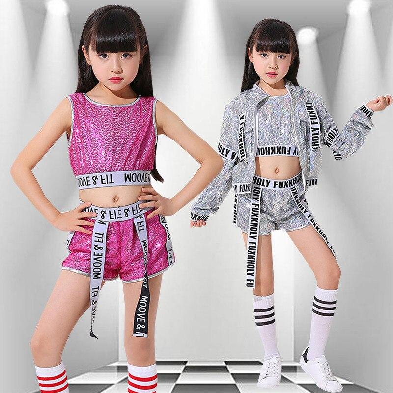 Children's Jazz Modern Dance Costume 2pcs Practice Stage Costume  Girls Hip Hop Sequin Sparkly Navel Exposed Vest Shorts Set