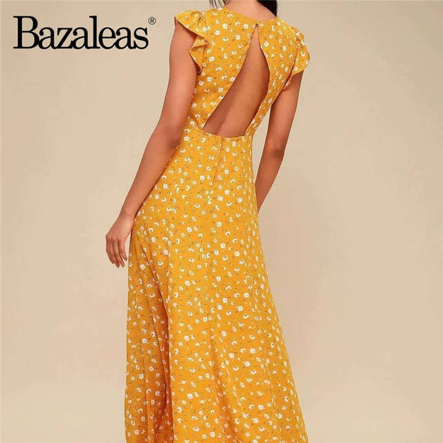 e700f55630581 Bazaleas 2019 Fashion Backless yellow Floral Print Summer Dress V Neck  women vestidos Split Midi Dress Hollow Out Dresses