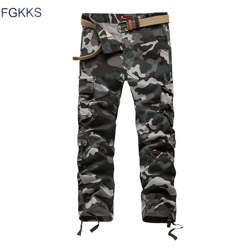 FGKKS 2018 New Arrival Brand Men Pants Spring Fashion Military Mens Cargo Pants Quality Cotton Casual Pants Male