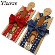 Yienws/Детские подтяжки и галстук-бабочка, красные, темно-синие галстуки в горошек для мальчиков, галстуки-бабочки с подтяжками для девочек, Tirantes Bebe, 65 см, 110 см, YiA154
