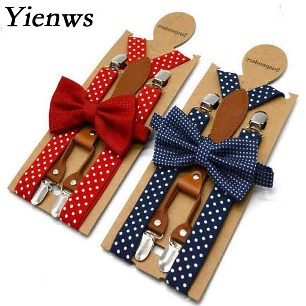 Yienws Baby Kids Suspenders And Bow Tie Red Navy Polka Dot Boys Suspenders Bowties Girls Tirantes Bebe  65cm 110cm YiA154
