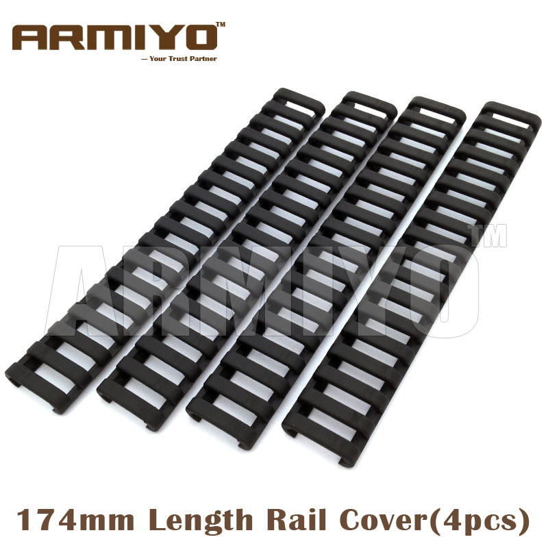 "Armiyo 18 Slot Snap on 7"" 174mm Length Ladder Rubber Rail Cover Handguard Protector Fit 20mm Picatinny Rail 4 Pcs/Set"