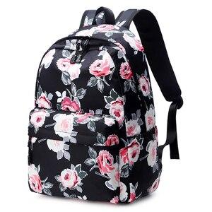 Image 4 - Школьные ранцы Fengdong для девочек подростков, дорожные ранцы для книг с цветочным принтом в виде роз, детские рюкзаки, 3 шт./компл.