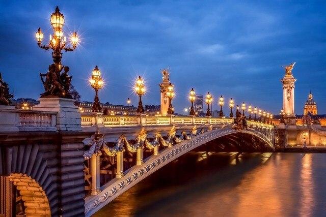 Paris Frankreich Stadt Abend Lichter Stadtbild Nacht Brücke